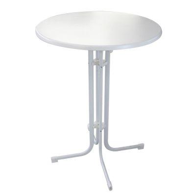 Stehtisch D1 Ø80cm Mlit-Tischplatte Weiß EINSCHLIESSLICH SENDEKARTON