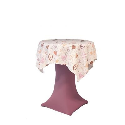 Tablecloth 130x130cm Print Heart Forever White