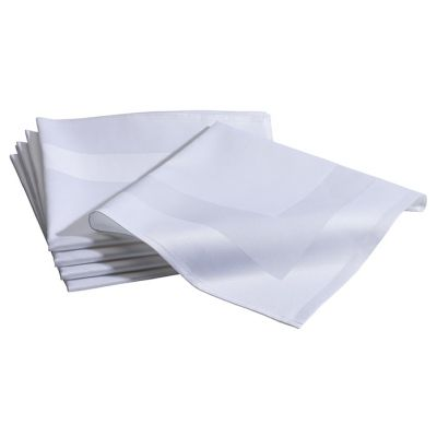 Napkin Damast with Satin band 50x50cm White