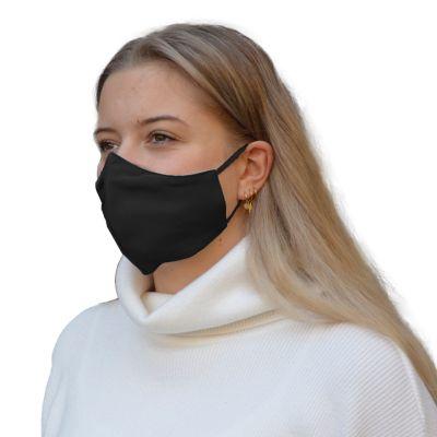 Mundmaske 100% Baumwolle Schwarz ohne Falten